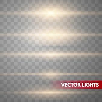 Золотые линзы вспышек векторные иллюстрации. блеск звездного света изолированы. светящийся эффект света