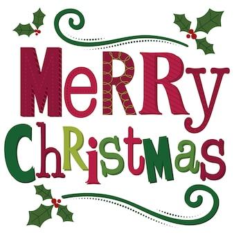 タイポグラフィメリークリスマスの手紙、白い背景の上の装飾メリークリスマスの手紙