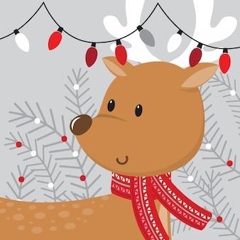 クリスマスの装飾とかわいいトナカイ