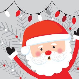 クリスマスの飾りとサンタクロースのキャラクター