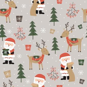 Бесшовные милый санта-клаус и олени и рождественский орнамент