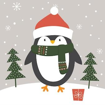 Милый пингвин зимой, иллюстрация