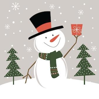 Милый снеговик с рождественским подарком в снегу, иллюстрация