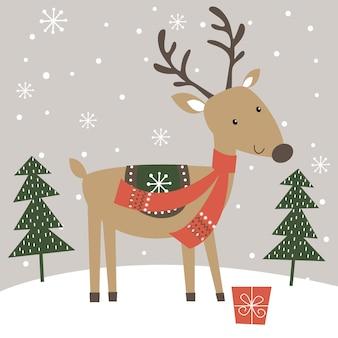 Милый олень зимой, иллюстрация