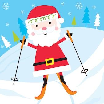 Милый санта катается на лыжах на снегопаде, иллюстрация