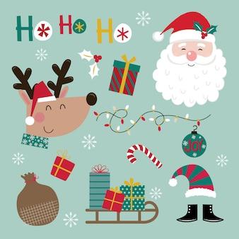 かわいいクリスマスデコレーションセット、クリスマス文字、赤と緑の色の印刷テンプレート