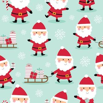 シームレスパターンかわいいサンタクロースデザイン、かわいいクリスマスキャラクター、ベクトルイラスト