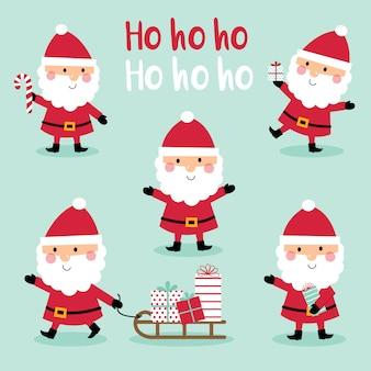 Набор милый дизайн санта-клауса, милый рождественский персонаж, векторная иллюстрация