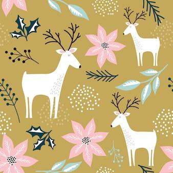 トナカイのデザインと装飾的なクリスマスの花とのシームレスな背景
