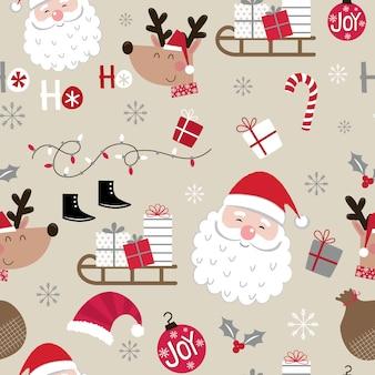 シームレスなかわいいクリスマスキャラクターパターン