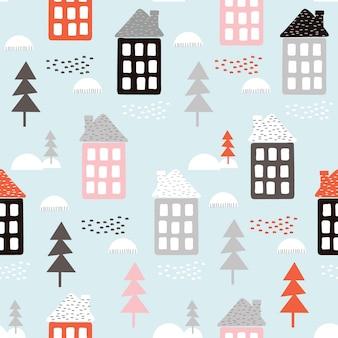 Бесшовный новогодний фон с домом и елкой