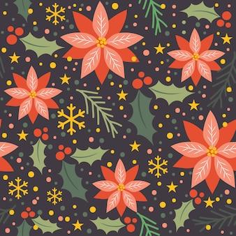 ヒイラギの葉とポインセチアのシームレス背景