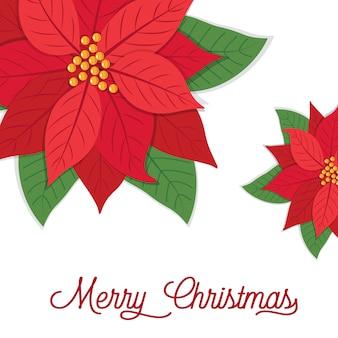 Рождественская открытка с дизайном пуансеттии, иллюстрация