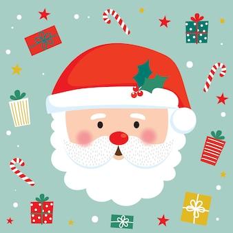 サンタクロースの顔とクリスマスプレゼント