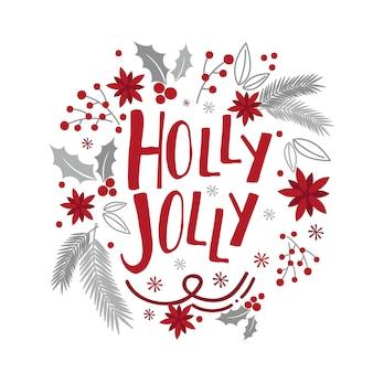 Рождественская открытка с венком из красного и серебристого цветов