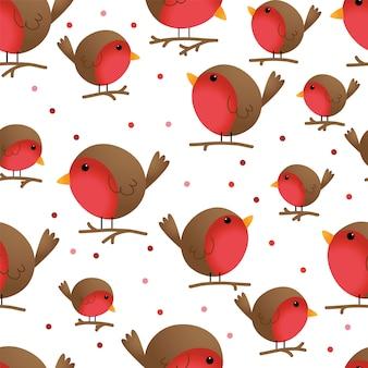 壁紙に適したシームレスなかわいい鳥ロビンの背景