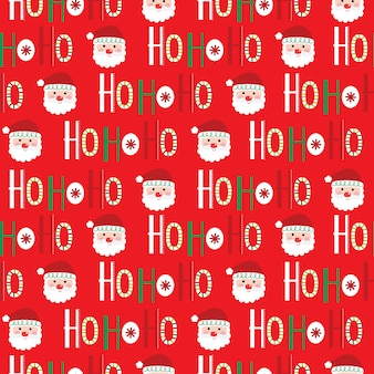 ホーホーホースクリプトとかわいいサンタの顔のシームレスなクリスマス背景