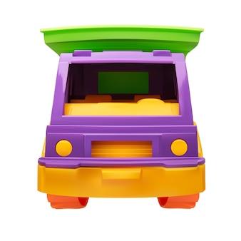 Вид спереди детей пластиковая игрушка самосвал векторная иллюстрация