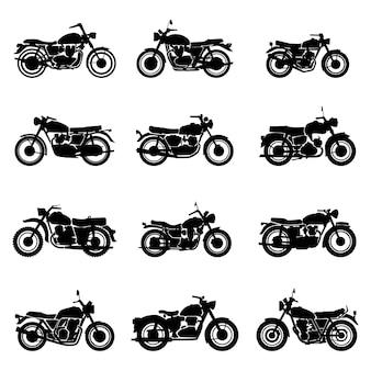 Классические дорожные старинные мотоциклы векторная иллюстрация набор