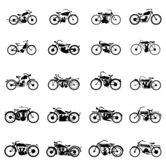 Старый старинный мотоцикл вектор набор иллюстраций в простом стиле