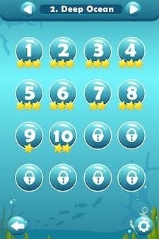 Пользовательский интерфейс игры с экраном выбора уровня