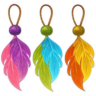 Разноцветные амулеты с перьями и бисером