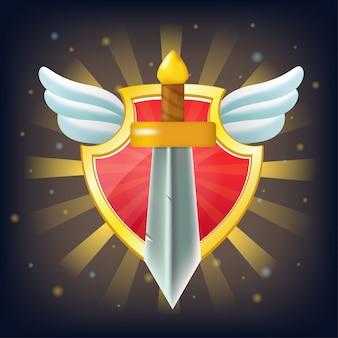 Щит с мечом, звездами и крыльями