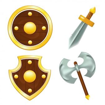 Набор деревянных щитов, меча и топора