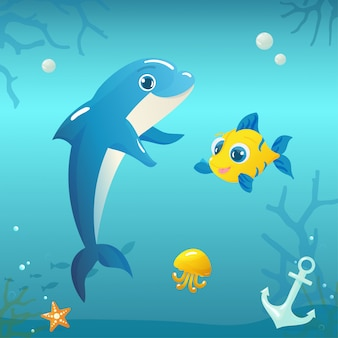 Иллюстрация дельфина с рыбой и медузы под водой