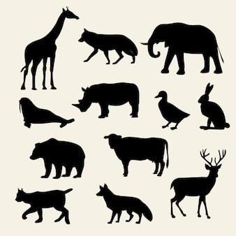 野生動物のシルエットセット