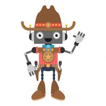 Улыбающийся мультипликационный робот шериф машет рукой