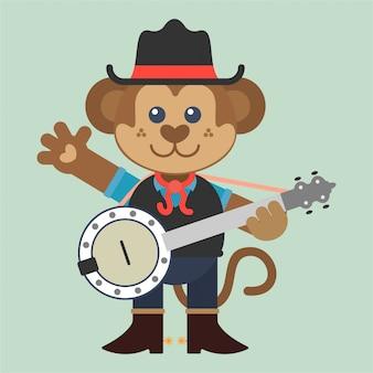 バンジョーとカントリーミュージックを演奏する面白い猿