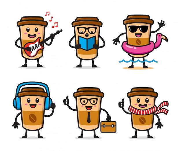 コーヒーカップのキャラクターデザインのセット