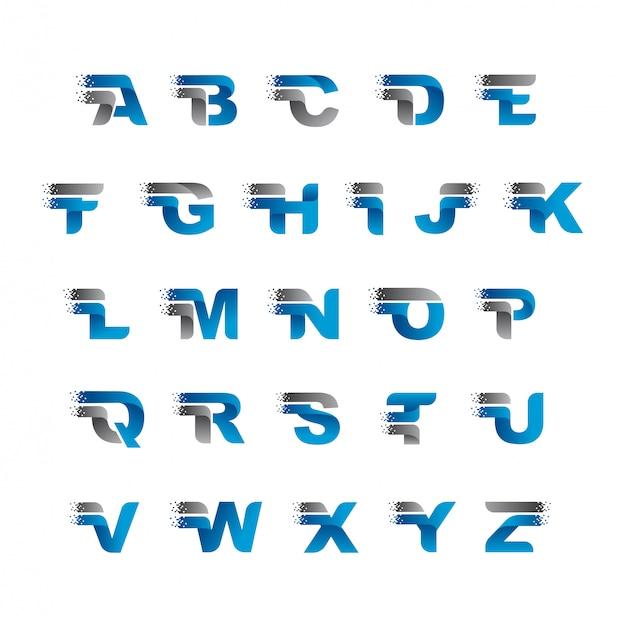 モダンなピクセルアルファベットテンプレート