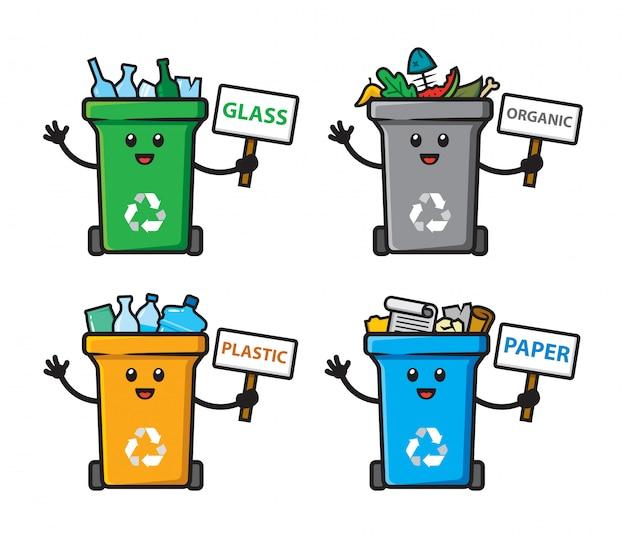 ゴミ箱のキャラクターデザインのセット