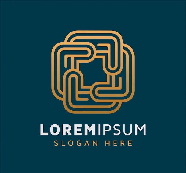 エレガントなモノライン抽象的な正方形のロゴデザイン