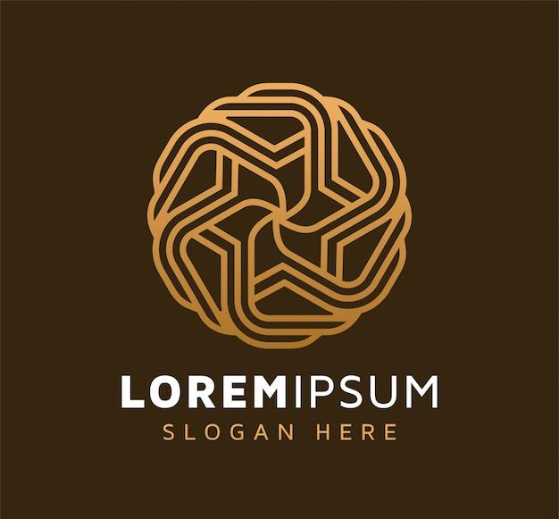 Элегантный монолайн абстрактный дизайн логотипа звездного круга