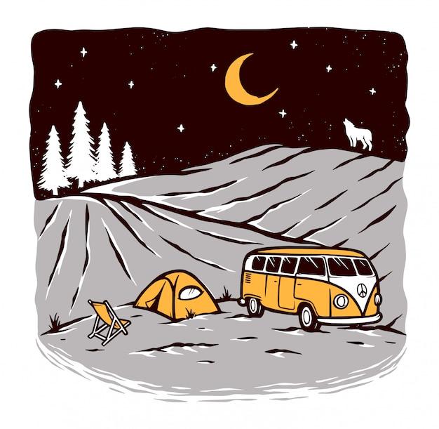 夜のキャンプでの図