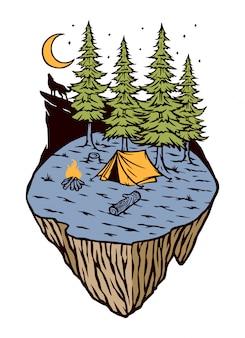 森のイラストでのキャンプ