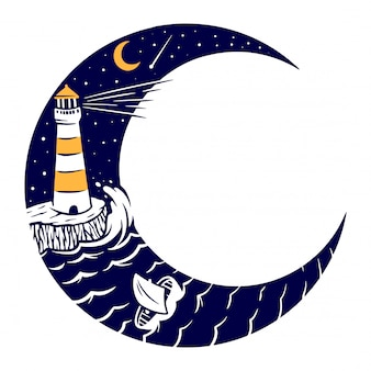 Иллюстрация маяка и луны