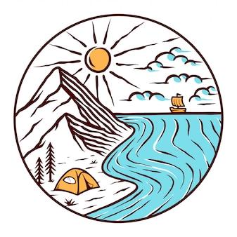 ビーチのイラストでのキャンプ