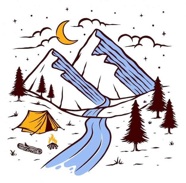夜の図で山でのキャンプ