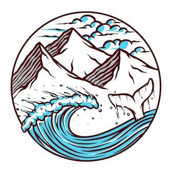 海と山のイラストのビュー