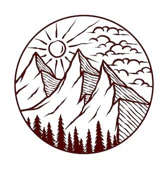 Иллюстрация природных горных пейзажей