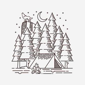 Кемпинг в лесной линии иллюстрации