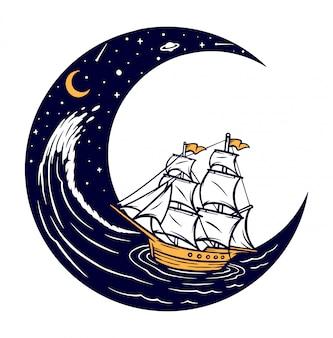 夜の図で帆