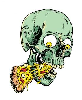 頭蓋骨とピザのイラスト