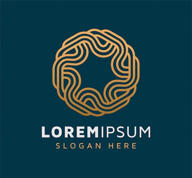 Элегантный монолайн абстрактный круг дизайн логотипа