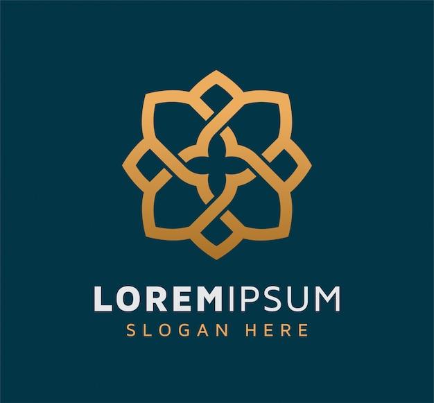 Элегантный однотонный цветочный дизайн логотипа