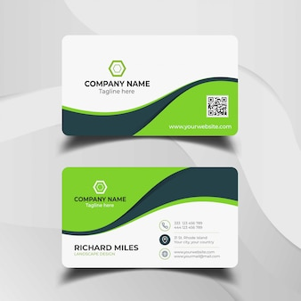 Темно-зеленый шаблон визитной карточки